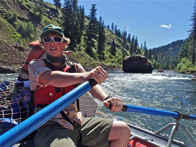 Maneuvering past the Red Rock on the Wallowa river, which later joins the Grande Ronde