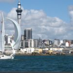 Auckland sailing.sailboat and Sky Tower