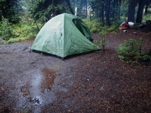 Camping in the rain above Anthony Lake