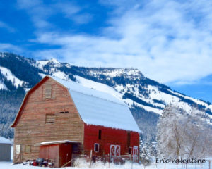 winter barn Mt Emily Oregon