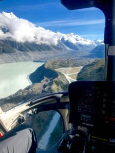 Helicopter over Tasman Lake, heading toward the Tasman glacier