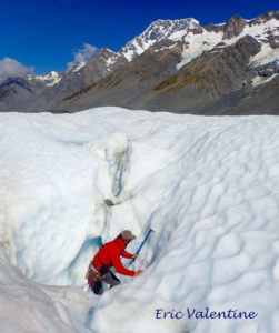 Ant preparing descent into ice cave