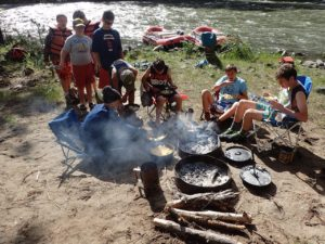 Dutch oven cooking on the Grande Ronde river