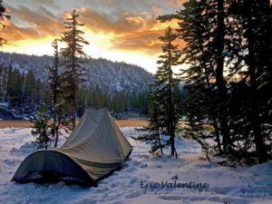 Hoffer Lake camping, snow camping